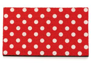 Felpudo personalizado con fondo de puntos blancos sobre rojo